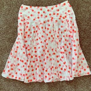 New York and Co skirt polka dots pink orange white